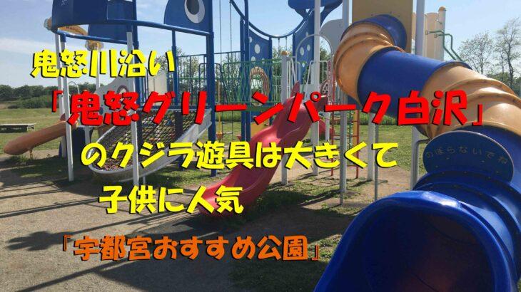 鬼怒川沿い「鬼怒グリーンパーク白沢」のクジラ遊具は大きくて子供に人気(宇都宮おすすめ公園)